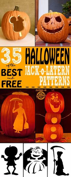 We've put together 35 of the BEST Jack o Lantern Patterns for Halloween. These free pumpkin carving templates are sure to get you in a spooky mood for Halloween.