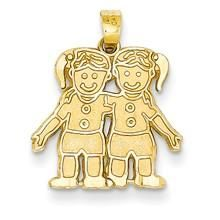 Solid Satin Two Girls Charm in 14k Gold