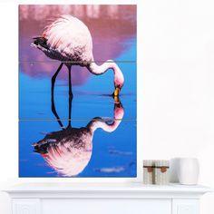 Designart 'Beautiful Food Seeking Flamingo' Extra African Art Print