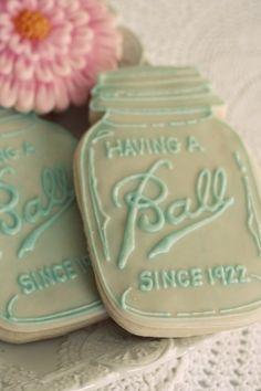 These mason jar cookies are amazing. - Mason Jar Cookies via Kara's Party Ideas Mason Jar Party, Ball Mason Jars, 50th Wedding Anniversary, Anniversary Parties, Anniversary Ideas, Silver Anniversary, Diamond Anniversary, 50th Anniversary Cookies, Anniversary Dessert