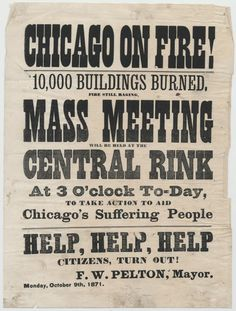 Chicago on Fire!; Broadside, October 9, 1871. Chicago History Museum Archives.