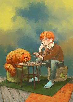 """Harry Potter """"Relaxing Time"""" Ron Weasley & Crookshanks playing wizards' chess fan art by Morgane Velten on society6. {morganevelten.tumblr.com}"""