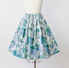 Full Skirt House Print Mid Century Green Blue 1950s by salvagelife, $98.00
