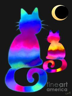 Colorful Cats And The Moon. Artist: Nick Gustafson