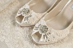 CURRENT TURNAROUND TIME FOR BRIDAL SHOES: http://www.etsy.com/shop/pink2blue/policy  The listing below is for a RUSH ORDER service... this is not for postage but for a quicker turn around time in our studio! https://www.etsy.com/listing/168524830/rush-order-listing-bridal-shoes?ref=shop_home_active  Medium Heels ~ To view some of my other medium heel bridal shoes, check the link below: https://www.etsy.com/shop/Pink2Bl...