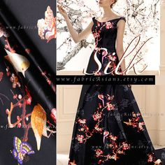 Cherry blossom butterfly fabric black silk charmeuse by the