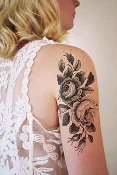 This floral temporary tattoo design is for you when you really want to make a statement. This one is large! I love floral tattoos with a vintage feel