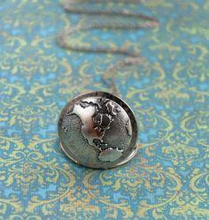 Globe Locket World Map Antique Silver Locket by PursesonalStyle, $32.00