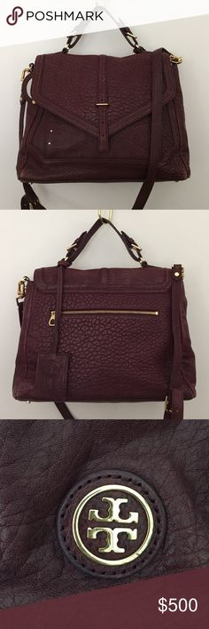 """Tory Burch 797 Satchel Leather with gold hardware, fold over closure, interior zip and two additional open pockets, small round detachable mirror, exterior zip pocket, removable adjustable cross body strap with 22"""" drop, feet on the bottom of bag, dust bag included Tory Burch Bags Satchels"""