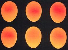 Sex genomlysta ägg i färger från gul, via orange till röd.