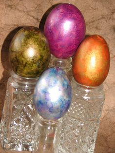 Alcohol ink eggs!  These would be so beautiful for Easter - especially with the girlz names on them!