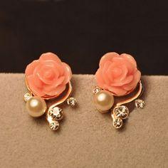 Cheap Fashion Rhinestone Bohemia Rose Earrings For Big Sale!Fashion Rhinestone Bohemia Rose Earrings make you more elegant and sweet Cute Jewelry, Jewelry Accessories, Fashion Accessories, Accessories Online, Jewlery, Cheap Jewelry, Inexpensive Jewelry, Jewelry Sets, Hair Jewelry