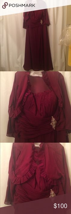 MayQueen brand wine strapless  formal with jacket MayQueen brand wine strapless  formal with jacket.   Full length & can been worn without jacket.  Worn to a wedding only once.   Size 4XL Mayqueen Dresses Wedding