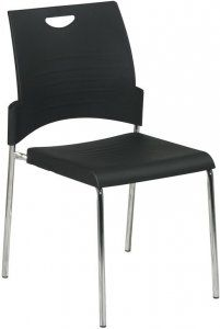 Office Star - Straight Leg Stacking Chairs with Chrome Finish SKU: STC8300C2 The Office Star STC8300 is a modern, budget friendly, stylish visitors chair which is easily gangable to save room when not in use. With a black plastic seat, black plastic wrap around back, and sturdy chrome legs, this is a great stacking chair at a great price. @$199.99 --28 @$1399.99 Availability: 1 Color(s) Available Pricing: $129.99