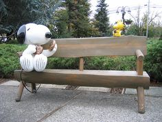 I encountered this awesome bench outside the ice rink adjoining the Charles M Schulz Museum in Santa Rosa, California. Snoopy is sharing his chocolate chip cookie with Woodstock who sits atop the bench. The Museum is AMAZING and is worth the trip for any serious Peanuts fanatic.