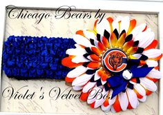 Chicago Bears Bow Headband Baby Girls luxury by VioletsVelvetBox, $8.99