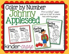 Color by Number Johnny Appleseed FREEBIE
