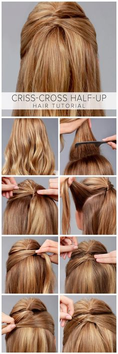 Criss-Cross Half-Up Hair Tutorial - Frisuren Tips Belleza, Down Hairstyles, Amazing Hairstyles, Trendy Hairstyles, Summer Hairstyles, Girl Hairstyles, Professional Hairstyles, Short Haircuts, Hairstyles Haircuts