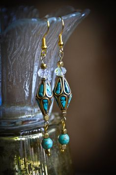 Beautiful Turquoise Nepalese Bead Earrings with by Beadissima