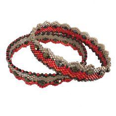 Bracelets miyuki rouge et sable - 2 modèles