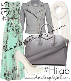 Hashtag Hijab Outfit #315 floral dress leather jacket mint green cream grey