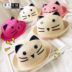 2016 Fashion Straw Hats Summer Baby Cat Decoration Lovely Child Character Girls And Boys Sun Hat Solid Children Floppy Panama-in Hats & Caps from Mother & Kids on Aliexpress.com | Alibaba Group