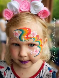 Face Painting Flowers, Girl Face Painting, Belly Painting, Painting For Kids, Face Painting Tutorials, Face Painting Designs, Rainbow Face Paint, Cheek Art, Face Paint Makeup