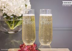 Personalized Anniversary Stemless Champagne Flutes (Set of TWO) Engraved Custom Toasting Flutes, Personalized Flutes, Couples Gift Stemless Champagne Flutes, Toasting Flutes, Champagne Glasses, Tori Tori, Personalized Anniversary Gifts, Wedding Toasts, Gift Wrapping Services, Engagement Gifts, Custom Engraving