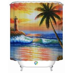Beautiful Shower Tub Curtains with Ocean View