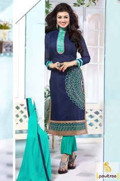 Sunday telugu film heroine Ayesha Takia blue chanderi embroidery salwar suit for new year party and festival. Eye catching Turquoise cotton nazneen salwar kameez which is decked with embroidery work. #salwarsuit, #designersalwarsuit more: http://www.pavitraa.in/store/ayesha-takia-salwar-kameez/