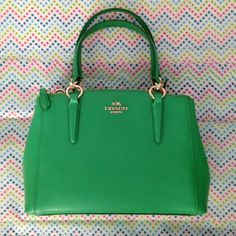 """Coach Kelly green crossbody/handbag NWT Coach Kelly green leather crossbody with detachable 25"""" drop adjustable strap. Gold hardware, center snap compartment with 2 slots, 2 zipper compartments with 1 zipper pouch. 10.5x7.5x3"""". #3 truest color Coach Bags Crossbody Bags"""
