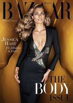 Headturning:Jessica Hart flaunted her ample cleavage in a fitted dress that featured a low plunging neckline as she posed on the cover of the latest issue of Harper Bazaar Australia