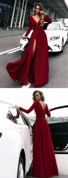 v neck long sleeves red prom dress with side slit