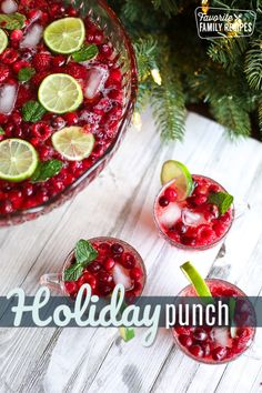 Delight your friends and family with this bright and colorful Holiday Punch. The cranberries raspberries lime and mint flavors create a festive and flavorful drink your guests will love! Holiday Punch, Holiday Drinks, Holiday Recipes, Great Recipes, Favorite Recipes, Popular Recipes, New Year's Desserts, Cute Desserts, Christmas Desserts