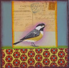 painting, whimsical, bird, pattern, postcard www.rachelpaxton.com