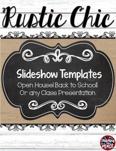 """****Editable slideshow with a with a """"rustic chic""""  theme****These """"fixer upper"""" style slides include chalkboard, burlap, shiplap, wood, and lace!They can be used for a back to school presentation, open house presentation, or anytime you need a slideshow for your classroom."""