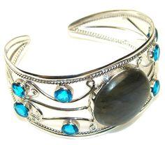$120.85 Beautiful Labradorite Sterling Silver Bracelet / Cuff at www.SilverRushStyle.com #bracelet #handmade #jewelry #silver #labradorite