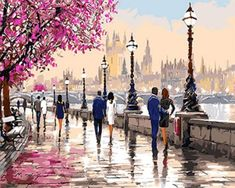 A Rainy Street in the City Paint by Numbers Kit