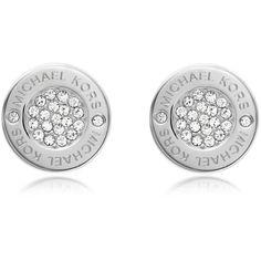 Michael Kors Designer Earrings Heritage Pave Stud Earrings ($75) ❤ liked on Polyvore featuring jewelry, earrings, silver, pave jewelry, studded jewelry, earrings jewellery, polish jewelry and michael kors