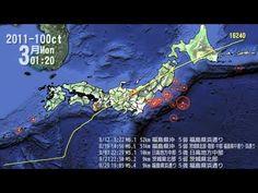 2011 Tōhoku earthquake and tsunami  東北地方太平洋沖地震 発生地点・規模・時刻分布図(2011/10/15)
