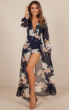 Steal the Show playsuit in navy tropical floral Maxi Playsuit, Floral Playsuit, Romper Dress, Floral Maxi Dress, Floral Jumpsuit, Dress Outfits, Cute Outfits, Fashion Outfits, Womens Fashion