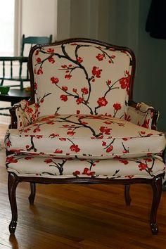 cherry lane cottage  .. X ღɱɧღ || Cherry blossom upholstered chair... sweet !!!~