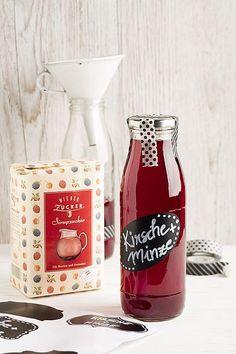 Kirschen-Minze Sirup (Rezept, Einkochen, Getränk, Durstlöscher, selbstgemacht, Geschenk)