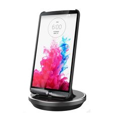RND Dock for LG G4, LG G3, LG Flex 2, and LG Tribute (works with rugged, dual layer, slim cases, and no cases)(black with silver trim)