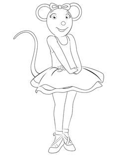angelina ballerina feeling excited coloring page to print - Angelina Ballerina Coloring Pages