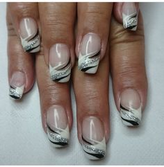 68 Trendy nails design french tip gel Silver Nails, Purple Nails, White Nails, French Tip Nail Designs, New Nail Designs, Prom Nails, Fun Nails, Bling Nails, French Nails