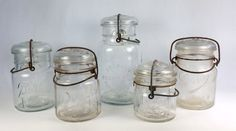 Lot of 5 Vintage Canning Jars w Glass Lids by WeStartedWithAMouse