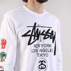 08b45c312 Stussy WT Flag Long Sleeve T-shirt - White Stussy, Shirt Print, Printed