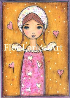 ANGEL IN WONDERLAND  Print from Painting Folk Art by by FlorLarios, $15.00