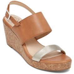 Vince Camuto Ansel Espadrilles Wedge Leather Sandals (175 MYR) ❤ liked on Polyvore featuring shoes, sandals, tan, strappy sandals, tan wedge sandals, tan strappy sandals, espadrille wedge sandals and strap sandals